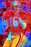 Football Mixed Media - Joe Montana in Color  by DJ Fessenden