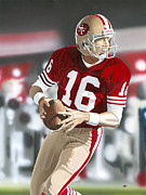 49ers Mixed Media Framed Prints - Joe Montana  Framed Print by Joshua Jacobs