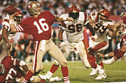 Nfl Framed Prints - Joe Montana passing the ball Framed Print by Sanely Great