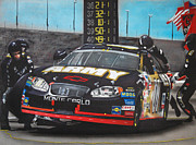 Tire Mixed Media Originals - Joe Nemechek Pit stop by Paul Kuras