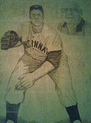 League Drawings Metal Prints - Joe Nuxhall Metal Print by Christy Brammer