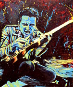 Fender Painting Originals - Joe Strummer with Fender Strat by Kat Richey