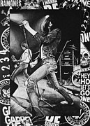 Rock N Roll Drawings Prints - Joey Ramone Print by Steve Hunter