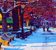 Joggers Posters - Jogging in the Snow Along Boathouse Row Poster by Bill Cannon