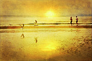 Jogging Metal Prints - Jogging On Beach With Gulls Metal Print by Theresa Tahara