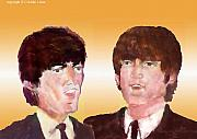 Beatles Digital Art Originals - John And George 1963 by Moshe Liron