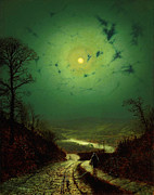 Delacroix Prints - John Atkinson Grimshaw Moonlight Wharfedale 1871 Print by MotionAge Art and Design - Ahmet Asar