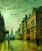 Delacroix Prints - John Atkinson Grimshaw Park Row Leeds 1882 Print by MotionAge Art and Design - Ahmet Asar