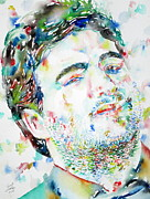 Smoking Cigarette Posters - John Belushi Smoking - Watercolor Portrait Poster by Fabrizio Cassetta
