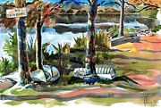 Autumn Scene Mixed Media Prints - John Boats and Row Boats Print by Kip DeVore