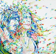 Robert Plant Prints - JOHN BONHAM and ROBERT PLANT - watercolor portrait Print by Fabrizio Cassetta