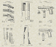 Technical Art Drawings Prints - John Browning Firearms Patent Collection Print by PatentsAsArt