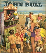 Vacations Drawings Prints - John Bull 1946 1940s Uk Holidays Punch Print by The Advertising Archives