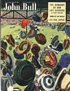 Soccer Drawings Prints - John Bull 1950 1950s Uk Football Hats Print by The Advertising Archives