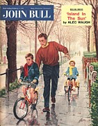 Bicycle Drawings - John Bull 1950s Uk  Learning To Ride by The Advertising Archives