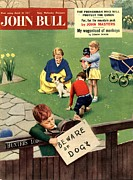 Parents Drawings Prints - John Bull 1957 1950s Uk Dogs Beware Print by The Advertising Archives