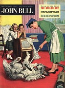 Nineteen Fifties Drawings - John Bull 1957 1950s Uk Dogs Cleaning by The Advertising Archives