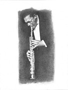 African American Man Drawings Prints - John Coltrane Print by Gordon Van Dusen