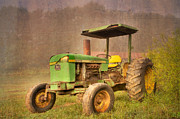 Pasture Scenes Photo Posters - John Deere 2440 Poster by Debra and Dave Vanderlaan