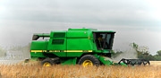 Dust Framed Prints - John Deere 9500 Framed Print by Olivier Le Queinec