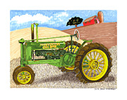Framed Artwork Drawings Posters - John Deere at rest Poster by Jack Pumphrey