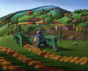 Indiana Autumn Painting Framed Prints - John Deere Farm Tractor Baling Hay Country Folk Art Landscape Scene Americana Framed Print by Walt Curlee