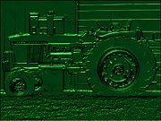 Businesses Digital Art Prints - John Deere Green Embossed Print by Margaret Newcomb