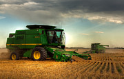 Reap Framed Prints - John Deere Harvest Framed Print by Matt Dobson