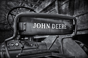 Machinery Photos - John Deere Tractor BW by Susan Candelario