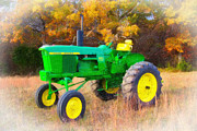 Plow Mixed Media Posters - John Deere Tractor Poster by Garland Johnson