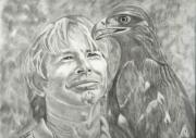 Entertainer Drawings Framed Prints - John Denver and Friend Framed Print by Carol Wisniewski
