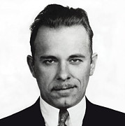 Dressed Photo Framed Prints - John Dillinger Mugshot Framed Print by Daniel Hagerman