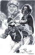 Denver Broncos Drawings Prints - John Elway Print by Jonathan Tooley