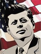 July 4th Drawings Prints - John F. Kennedy 1st Irish Catholic President  Print by Dancin Artworks