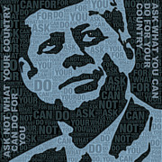 White House Mixed Media Prints - John F Kennedy and Quote Print by Tony Rubino