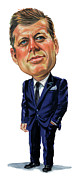 Caricatures Paintings - John F. Kennedy by Art