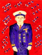Richard W Linford Painting Posters - John F Kennedy in Uniform bright red background Poster by Richard W Linford