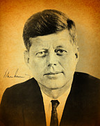 President Mixed Media Prints - John F Kennedy Portrait and Signature Print by Design Turnpike