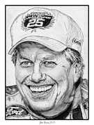 Closeups Drawings Posters - John Force in 2010 Poster by J McCombie