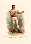 Antique Digital Art Posters - John L. Sullivan Boxer Poster by Gary Grayson