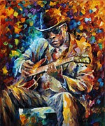 Jazz Artwork Painting Originals - John Lee Hooker - Palette Knife Oil Painting On Canvas By Leonid Afremov by Leonid Afremov
