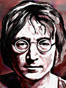Hand-painted Portraits Paintings - John Lennon 1 by James Shepherd