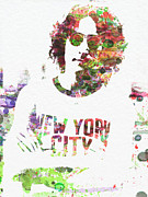 Watercolor Painting Prints - John Lennon 2 Print by Irina  March