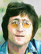 Hand-painted Portraits Paintings - John Lennon 2 by James Shepherd