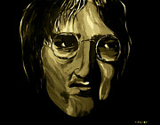 White Walls Mixed Media Framed Prints - John Lennon 4 Framed Print by Mark Moore