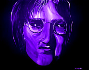 Silver Moonlight Posters - John Lennon 5 Poster by Mark Moore