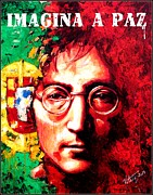 Rock Star Prints On Canvas Posters - John Lennon - a man of peace and the world. Portugal Poster by Vitaliy Shcherbak