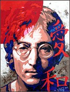 Songwriter Painting Originals - John Lennon - a man of peace. The number Three. by Vitaliy Shcherbak