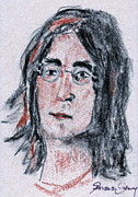 The Beatles John Lennon Drawings - John Lennon  by Anna Ruzsan