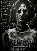 Music Legend Drawings Originals - John Lennon by RiA RiA